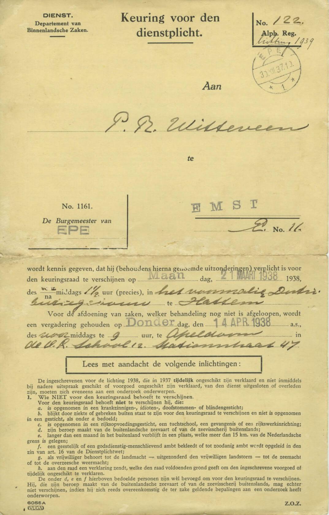 1938 Oproep keuring dienstplicht