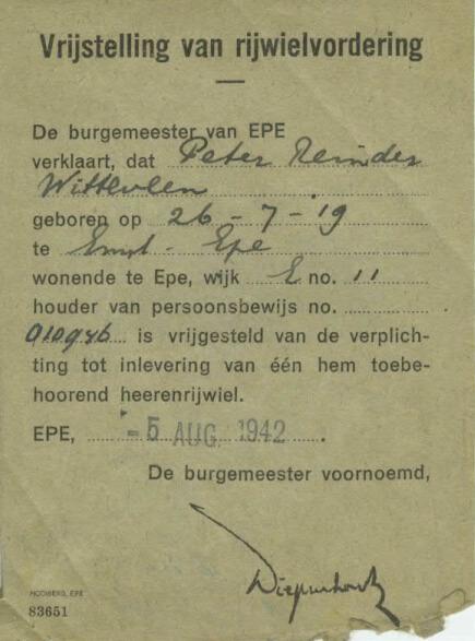 1942 Vrijstelling Rijwielvordering